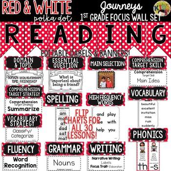 {Red & White Polka Dot} Journeys 1st Grade Focus Wall Set