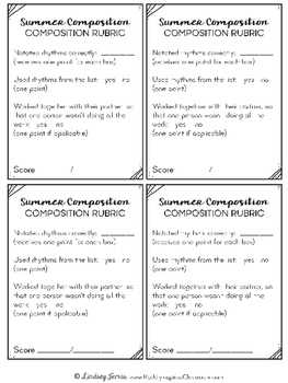 Summer Composition Pages and Mini Lessons
