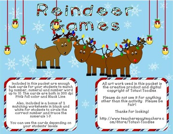 *** Reindeer Games *** Counting * Holiday * Task Cards * Worksheets