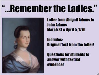 Close Reading Abigail Adams Letter-Women's History Month M
