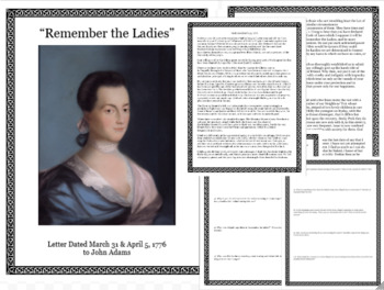 Close Reading Abigail Adams Letter-Women's History Month Middle & High School