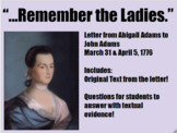 Close Reading Abigail Adams Letter-Women's History Month