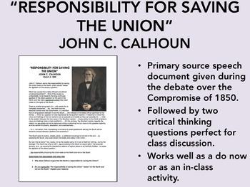 """Responsibility for Saving the Union"" - John C. Calhoun - US History/APUSH"