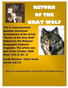 """Return of the Gray Wolf""  National Geographic Explorer! magazine. Oct 2008"
