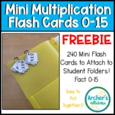 Multiplication Mini Flash Cards Number 0-15 Perfect for Take HOME folders