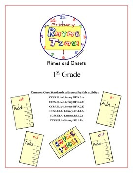 """""""Rhyme Time!"""" 1st Grade Rimes and Onsets Common Core Game Packet"""