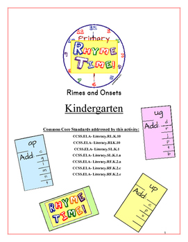 """Rhyme Time!"" Kindergarten Rime & Onset Common Core Game Packet"