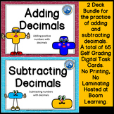 Adding and Subtracing Decimals Boom Cards--Digital Task Cards