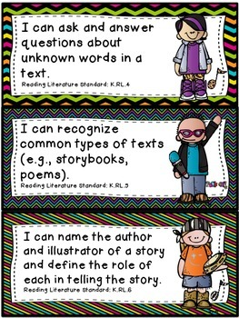 """RockStar"" Theme ELA ""I Can"" Statements *CCSS* - Kindergarten"