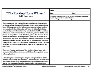 """Rocking-Horse Winner"" by D.H. Lawrence: Annotation Organizer"
