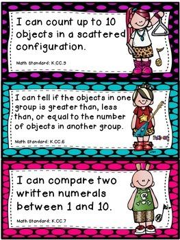 """Rockstar"" Theme Math ""I Can"" Statements *CCSS* - Kindergarten"