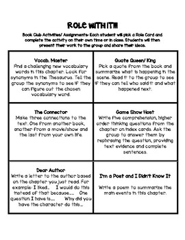 """Role With It"": Book Club Activity Role Cards"