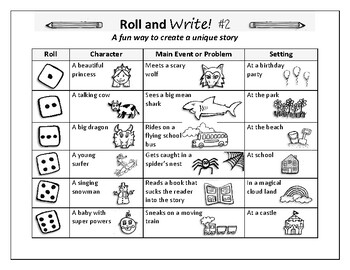 Roll and Write Fun Writing Activity pick your own story line creative writing 2