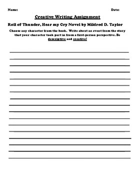 """Roll of Thunder, Hear my Cry"" by Mildred D. Taylor Creative Writing"