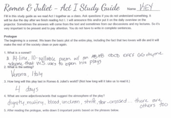 """Romeo & Juliet"" Act I-V Study Guides"