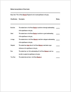 """Romeo and Juliet"" Exam Questions and Rubrics"