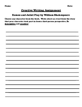 """Romeo and Juliet"" by William Shakespeare Creative Writing"