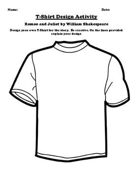"""""""Romeo and Juliet"""" by William Shakespeare T-Shirt Design Worksheet"""