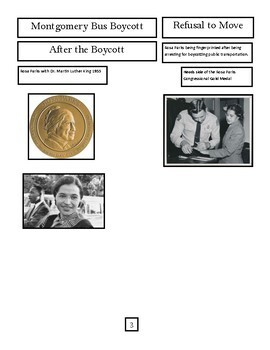 """Rosa Parks"" Nonfiction text feature sort with comprehension questions"
