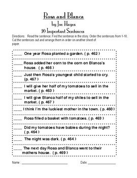 """Rosa and Blanca"" ( reading street gr. 2 ) Vocab. and 10 important sentences"
