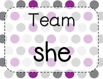 *Rotating - Team Table Signs :) (Colorful Polka Dots Version)