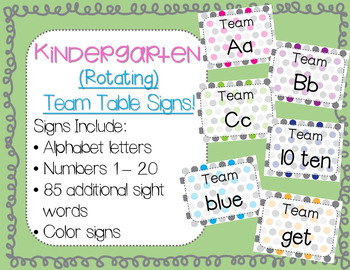 *Rotating - Team Table Signs :) (Colorful Polka Dots Version)