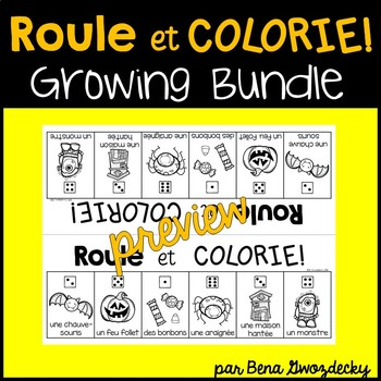 {Roule et Colorie: Monthly Themes Bundle!} A set of 20 French vocabulary games