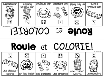 {Roule et Colorie: l'Halloween!} A French vocabulary game