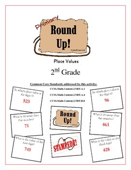 """Round Up!"" Place Values 2nd Grade Common Core Game Packet"