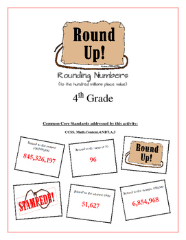 """Round Up!""  to the Millions Place Value 4th Common Core Grade Game Packet"