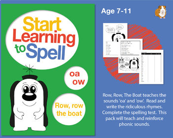 'Row, Row The Boat' Spell Words With 'oa' and 'ow': Learn To Spell With Phonics