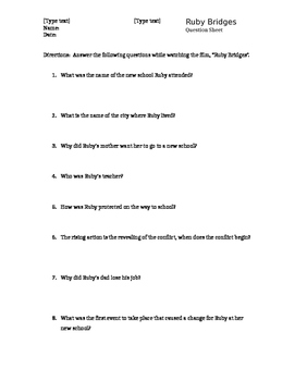 """Ruby Bridges"" movie questions"