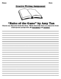 """""""Rules of the Game"""" by Amy Tan CREATIVE WRITING WORKSHEET/GOOGLE"""