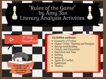 """Rules of the Game"" by Amy Tan (from Joy Luck Club) - 3-5 days of Activities"