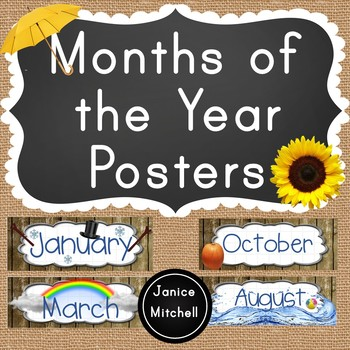 Months of the Year Calendar or Bulletin Board set Nature Themed