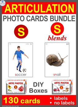 /S/ Articulation Photo Card Bundle: /S/ & /S/ Blends Speech Therapy