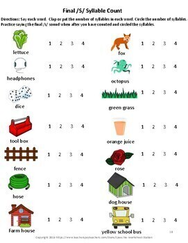 /S/ Articulation and Phonological Awareness Practice Workbook