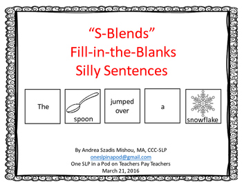 """S-Blends"" Fill-in-the-Blanks Silly Sentences"
