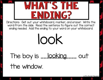 -S, -ED, -ING Inflectional Endings Activities and Games