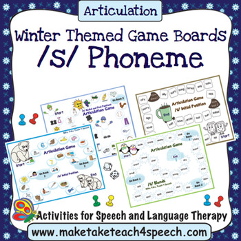 /S/ Phoneme - Winter Themed Game Boards