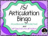 """S"" Sound Articulation Bingo- Phoneme in All Positions with WH Question Game"