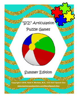"""S, Z"" Articulation Puzzle Pack: Summer Theme"
