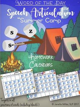 """/S/, /Z/, /S/-Blends: """"Summer Camp"""" Speech Homework Calendars 2017"""