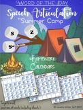 /S/, /Z/, /S/-Blends: Speech Homework Calendars 2017