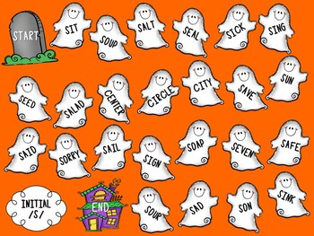 /S/ and /S/-Blends Articulation Board Games - Halloween Theme