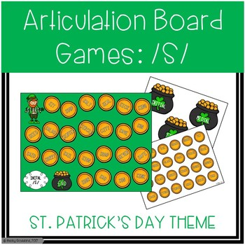 /S/ and /S/-Blends Articulation Board Games - St. Patrick's Day Theme