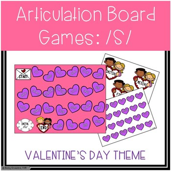 /S/ and /S/-Blends Articulation Board Games - Valentine's Day Theme