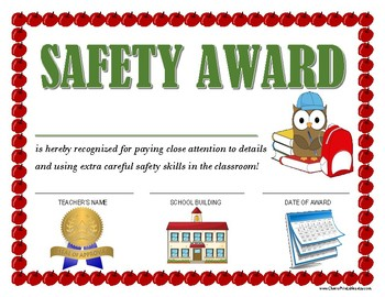 """SAFETY AWARD"" for Primary School Kids!  CLASSROOM AWARD SERIES"