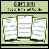 HOLIDAYS Themed Topic and Detail Cards