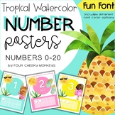 Cactus and Llama Tropical Classroom Decor // Number Posters 1-20 (includes zero)